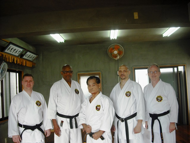 Michael O'Neil 2nd dan, Ed Barron Renshi 6th dan, Miyagi sensei Kyoshi 8th dan, Michael Norvell Renshi 6th dan & Martin O'Maley 3rd dan.