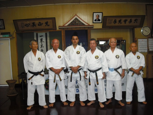 Mr. Gibson at center with Higa sensei, Tome sensei, Taira sensei, Arakaki sensei & Shinjo sensei