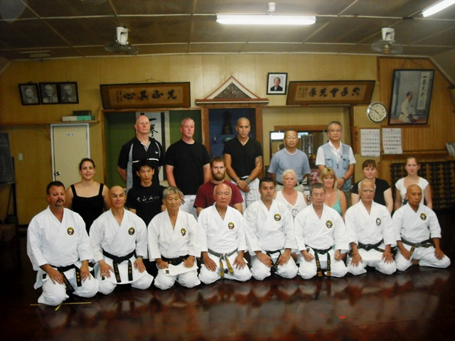 The karate practice groups from New Zealand, Canada and USA who happened to be in Okinawa and observed the Dan promotion test for Mr. Gibson in the Nagamine Dojo.