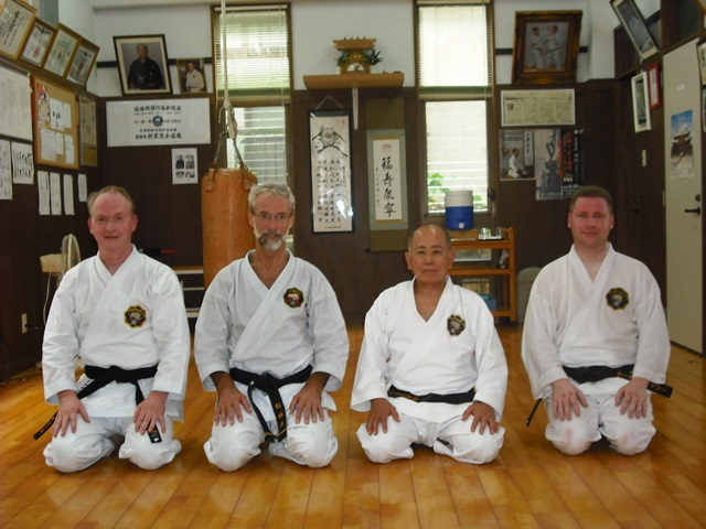 Michael O'Neil 2nd dan, Ole-Bjorn Tuftedal Renshi 6th dan, Shinzato sensei Kyoshi 8th dan & Martin O'Maley 3rd dan.